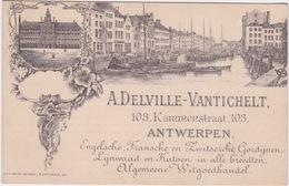 Cpa Reclame, A,Delville -Vantichelt. 103 Kammenstraat Antwerpen, Gordijnen Lijnwaad, En Katoen. Rare. - Antwerpen