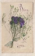 9AL1237 Carte Avec Fleurs Collées  2 SCANS - Cartes Postales