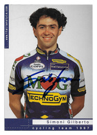 CARTE CYCLISME GILBERTO SIMONI SIGNEE TEAM MG - TECHNOGYM 1997 - Ciclismo