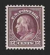 US #417 1912-14 Claret Brown WMK 190 Perf 12 Mint OG LH F-VF SCV $45 - Unused Stamps
