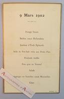 Menu 9 Mars 1902 - Voir Mes 2 Photos - Graveur Stern - Menus