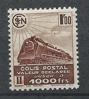 FRANCE - 1942-43 - Colis Postaux - Y.T. N°187B - Sans Filigrane - 1 F. Brun - Valeur Déclarée - Neuf* - TTB - Mint/Hinged