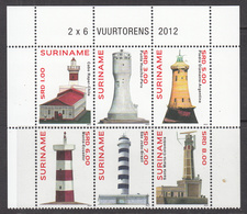 2012 Surinam Suriname Lighthouses Block Of 6 Complete  MNH - Suriname
