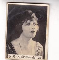 S,A-K MACDONALD. SUPER. CARD TARJETA COLECCIONABLE TABACO. CIRCA 1940s SIZE 4.5x5.5cm - BLEUP - Berühmtheiten