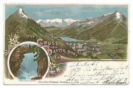 POSTCARD GRUSS VON DAVOS DORF , 1899 . - GR Grisons