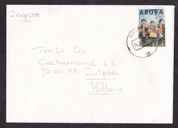 Aruba: Sea Mail Cover To Netherlands, 1990, 1 Stamp, Musicians, Music, Violin, Drum (minor Damage At Back) - Curaçao, Nederlandse Antillen, Aruba