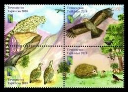 Tajikistan 2018 Mih. 815/18 Nature Reserves. Space. Fauna. Birds. Hedgehog. Leopard. Mushrooms (RCC Joint Issue) MNH ** - Tajikistan