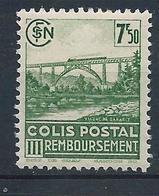 FRANCE - 1942-43 - Colis Postaux - Y.T. N°190B - Sans Filigrane - 7 F. 50 Vert-jaune - Remboursement - Neuf** - TTB - Colis Postaux