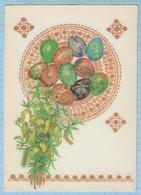 USSR / Post Card / Soviet Union / UKRAINE. Happy Easter . Easter Eggs. Ethnography. Artist Gorobivskaya 1990 - Easter