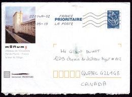 1 - TSC MONUM VINCENNES - S/ LAMOUCHE BLEU Oblitéré Pour Le Canada - Enteros Postales