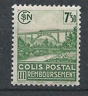 FRANCE - 1942-43 - Colis Postaux - Y.T. N°190B - Sans Filigrane - 7 F. 50 Vert-jaune - Remboursement - Neuf* - TTB - Mint/Hinged