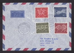 Germany: Airmail Cover To USA, 1960, 4 Stamps, Olympics, Sports, History, Olympic Games (traces Of Use) - [7] West-Duitsland