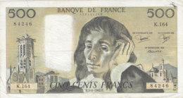 Billet 500 F Pascal Du 5-8-1982 FAY 71.27 Alph. K.164 - 1962-1997 ''Francs''