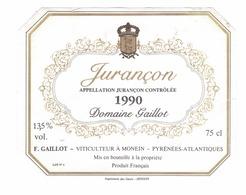 Rare Etiquette De Vin // Blanc // Jurançon // Domaine Gaillot // 1990 - Blancs