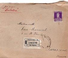 LSC 1926 - Recommandé Et Cachets  BUENOS AIRES Sur Timbres 25C Violet ( Par Vapeur LUTETIA ) - Argentine