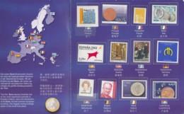 Die Ersten EURO-Briefmarken 2002, Aus 12 Ländern, In Präsentationsfaltblatt - Europa-CEPT
