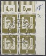 BRD 347x/347x, 4erBlock, Eckrand, Gestempelt, Bedeutende Deutsche 1961 - [7] República Federal
