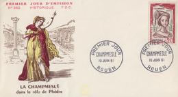Enveloppe  FDC  1er  Jour   FRANCE    LA  CHAMPMESLE    ROUEN   1961 - FDC