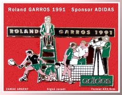 SUPER PIN'S Roland GARROS 91 : Le Superbe Pin's Sponsor ADIDAS En ZAMAC Argent Signé JACADI, 4X2,5cm - Tennis