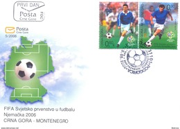 2006, FDC, World Cup 2006, Germany, Montenegro, MNH - Montenegro