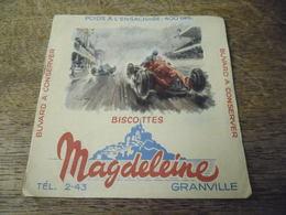 Buvard Ancien Biscottes Magdeleine Granville, Course Automobile - Biscottes