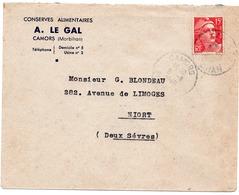 LSC  1949 - Entête Conserves Alimentaires A. LE GAL à CAMORS (Morbihan) & Cachet Perlé CAMORS Sur YT 813 - Marcophilie (Lettres)