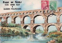 1949 - Cachet FOIRE De NIMES Sur CPA Peinte (signée Barday) - NIMES  Le Pont Du Gard - 1921-1960: Modern Tijdperk