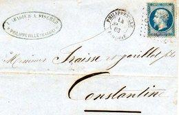 3916 - LAC 1863  - Cachet Philippeville - Cachet Abadie Et Fisher Algerie - 1849-1876: Période Classique