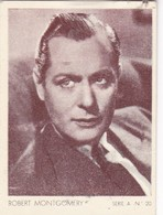 ROBERT MONTGOMERY. CARD TARJETA COLECCIONABLE TABACO. CIRCA 1940s SIZE 5x6cm - BLEUP - Personalità