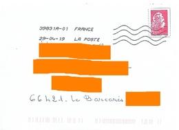 Timbre D'un Prêt à Poster Réponse Marianne L'engagée Ysault YZ Découpé Et Collé Sur Une Enveloppe Normale Toshiba - Entiers Postaux