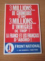 CARTE POSTALE FRONT NATIONAL 3 MILLIONS DE CHOMEURS - Partis Politiques & élections