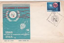 UIT UNION INTERNACIONAL TELECOMUNICACIONES 100 AÑOS-FDC 1966 URUGUAY - BLEUP - Telecom