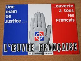 CARTE POSTALE L'OEUVRE FRANCAISE FRONT NATIONAL - Partis Politiques & élections