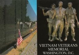 Vietnam War Memorial Washington DC, Names Of War Dead & Statue Of Soldiers, C1990s/2000s Vintage Postcard - War Memorials