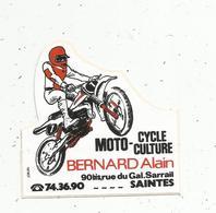 Autocollant , MOTO - CYCLE CULTURE , Bernard Alain , 17,  SAINTES - Stickers