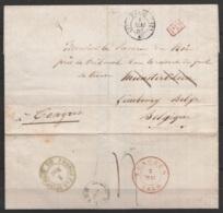 """L. Datée 1850 D'avocat Pour MUNSTERBILSEN Càd """"PARIS/1 MAI 1850"""" - [PD] Càd TONGRES - 1830-1849 (Belgique Indépendante)"""