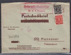 Kontrollrat 1947 Postscheckbrief  ( Reichsformular) MiF 912+917 Nach Hannover - Zone AAS