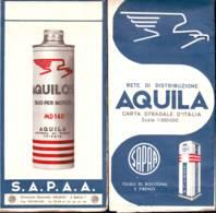 Benzina Aquila, Rete Di Distribuzione, Filiali Di Bologna E Firenze- Cartina Con Mappe Anni '50 - Carte Stradali