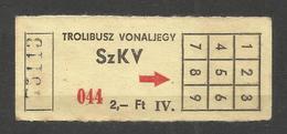 Hungary Trolleybus Single Ticket , Old Used Billet - Season Ticket