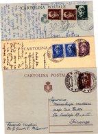 Italia  Repubblica  Lotto Di  3  Interi Postali  Luogotenenza - 1946-60: Marcophilia