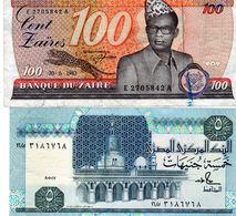 1 Billet Du Zaire De 100 Zaires Le 30-06-1983-1 Billet Egypte De 5 Pounds N D 87 - Autres - Afrique