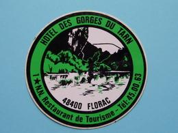 Hotel Des GORGES Du TARN 48400 FLORAC Tél 45.00.63 ( 8 Cm. ) Zelfklever Sticker Autocollant ! - Autocollants