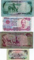 Lot De 4 Billets Du Vietnam  500 Dông 1988- 200 Dông 1972- 100 Dông 1972- 10 Xu 1966 - Vietnam