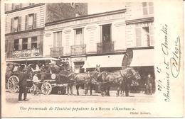 """ASNIERES (92) Une Promenade De L'Institut Populaire La """"Ruche D'Asnières"""" En 1905 (Beau Plan De Diligence) - Asnieres Sur Seine"""