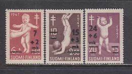 Finland 1948 - Bekaempfung Der Tubekulose, Marken Mit Aufdruck, Mi-Nr. 353/55, MNH** - Finland