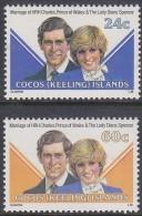 COCOS Is, 1981 ROYAL WEDDING 2 MNH - Cocos (Keeling) Islands