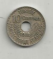Monnaie , Tunisie ,protectorat Français , 10 Centimes, 1918 , 2 Scans - Tunisia