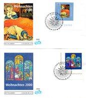 """BRD 2 Schmuck-FDC """"Weihnachten 2000"""", Mi. 2151/52 ESSt 9.11.2000 BERLIN ZENTRUM - FDC: Covers"""