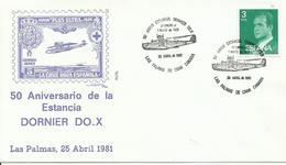 ESPAÑA, SOBRE  EXPOSICION FILATELICA 50 ANIVERSARIO DE LA ESTANCIA DORNIER DO.X - 1931-Hoy: 2ª República - ... Juan Carlos I