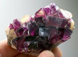 Fluorite Mauve Et Jaune Avec Zonage De La Mine Okorusu, Namibie. 148 Gr. 7,1 X 4,8 X 4,2 - Mineralien
